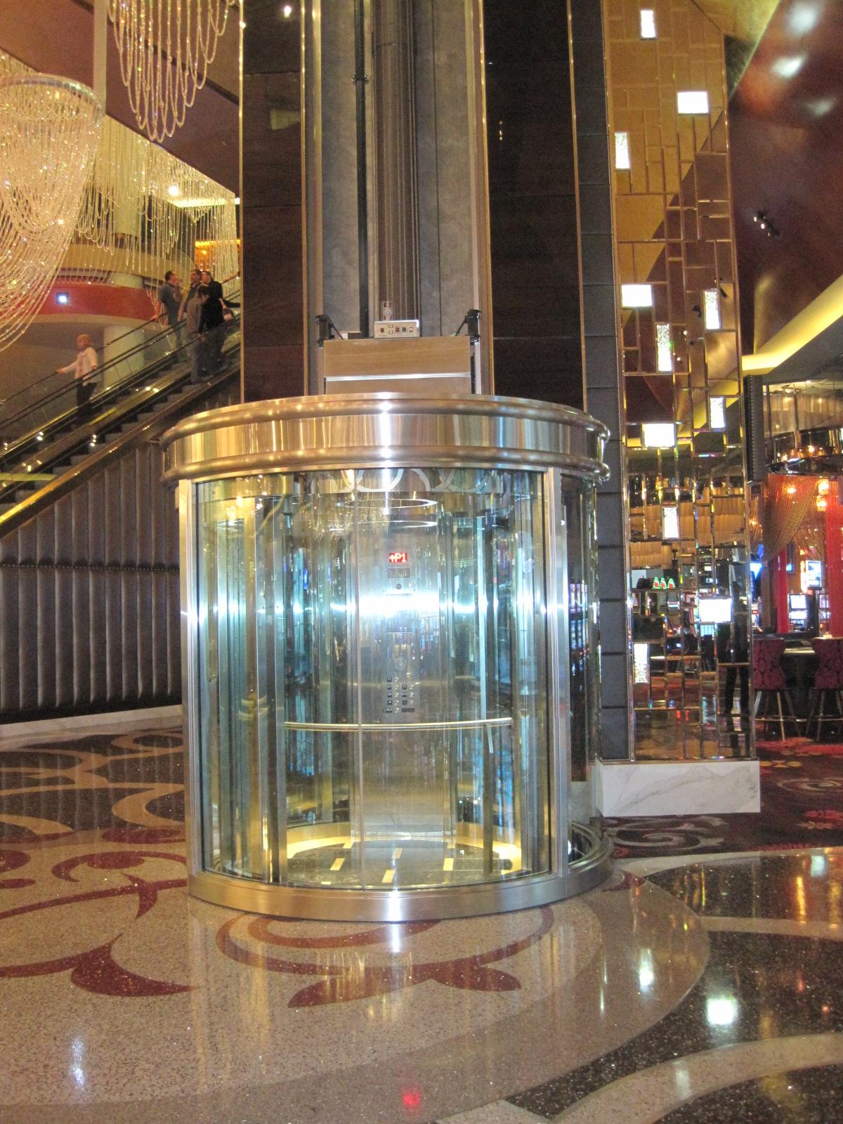 Cosmopolitan Casino-Las Vegas-Round, Glass Cab Elevator-Cantilever Roped Hydraulic Elevator, 3,500 lb Capacity- 2